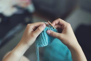 Person knitting